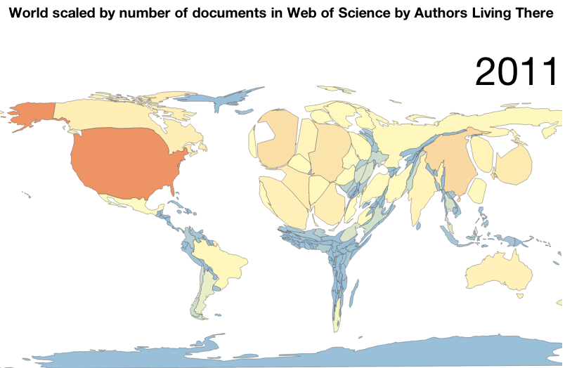 World Scaled By Number Of Documents In Web Of Science By Authors